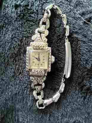 A Ladies Marcazite Watch c 1930,