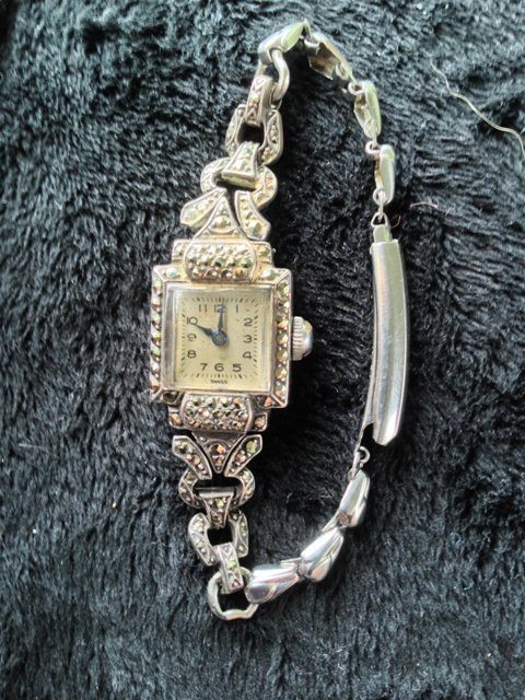 A Ladies Marcazite Watch c 1930,