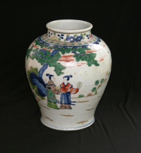 Chinese Baluster Shaped Famille Verte Vase,