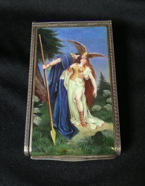 A German Enamel and Silver Cigarette Box, c 1910,