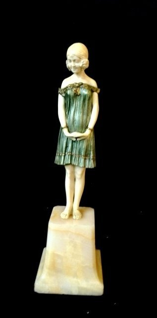 """""""Innocence"""" D Chiparus Ivory and Silvered Bronze Figure"""