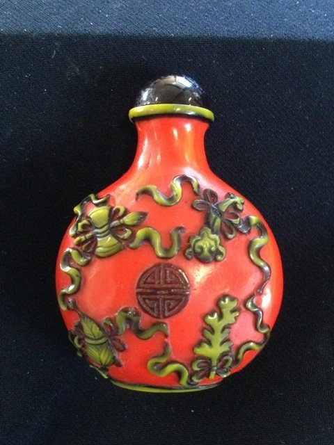 A Chinese Red Overlay Glass Snuff Bottle ,