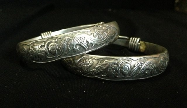 A Pair of Chinese Silver Bangles,