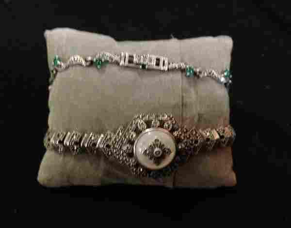 A Selection of Sterling Silver Marcazite Bracelets