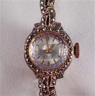 A 9 Carat Gold Marcazite Ladies Watch ,