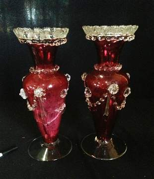 A Pair of Late 19th Century Ruby Glass Vases , ,