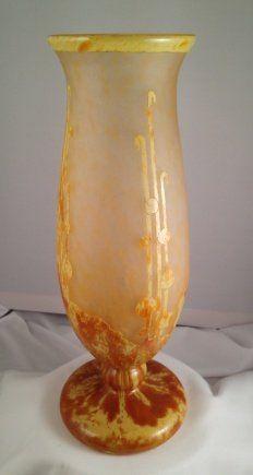A La Verre Francais Acid Etched Glass Vase,