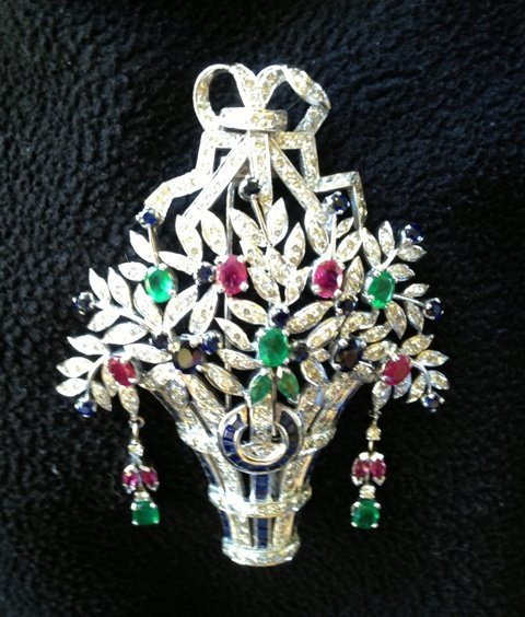 An 18 Carat White Gold Art Deco Style Gem Set Brooch  ,