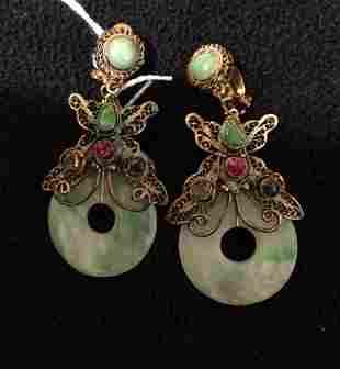 A Pair of Sino Tibetan Jade Mounted Suspension Earrings
