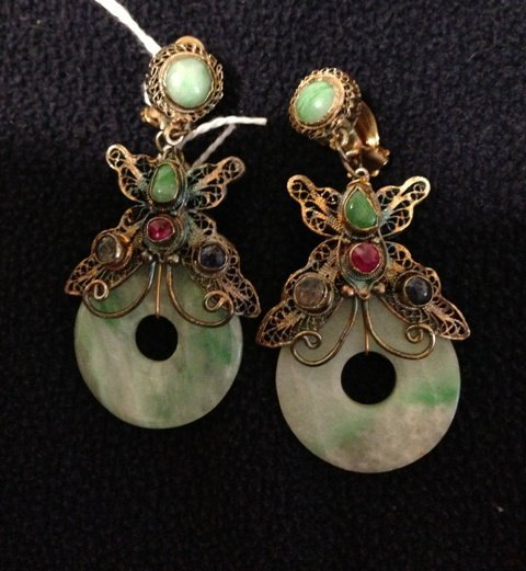 A Pair of Sino Tibetan Jade Mounted Suspension Earrings