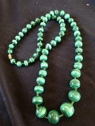 A Malachite Beaded Necklace