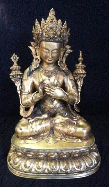 A Large  Chinese Gilt Bronze Buddha,