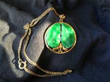 A Chinese 14 Carat Yellow Gold Mounted Jade Pendent