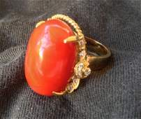 A Chinese 18 Carat Yellow Gold Coral and Diamond Dress