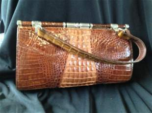 A Singaporian Crocodile Skin Ladies Handbag , c 1965