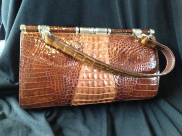 A Singaporian  Crocodile Skin Ladies Handbag , c 1965