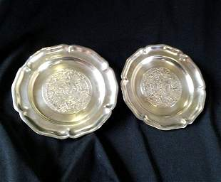 A Pair of Mexican Sterling Silver Pin Dishes