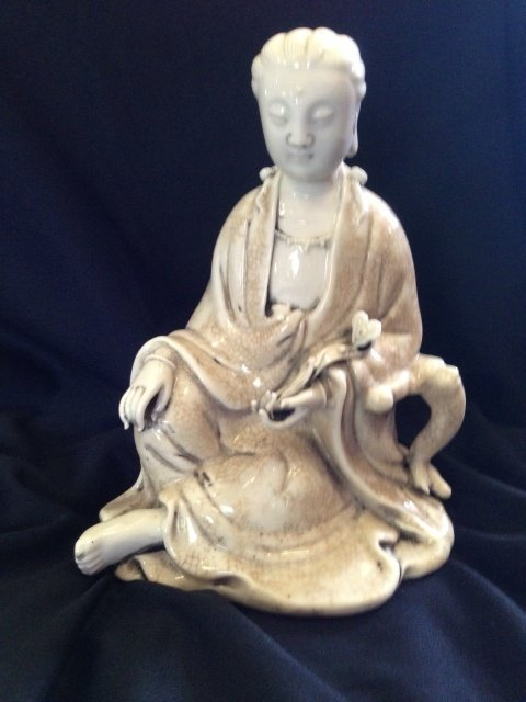 A Chinese Blanc de Chine Figure of Guan Yin, Probably
