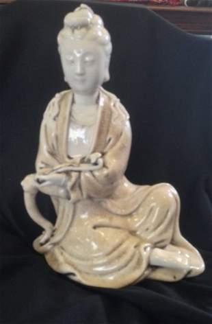 A Chinese Blanc de Chine Figure of Guan Yin, Probably