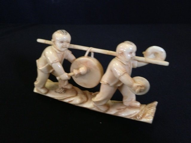 A Chinese Ivory Figure Group, Probably Republic,