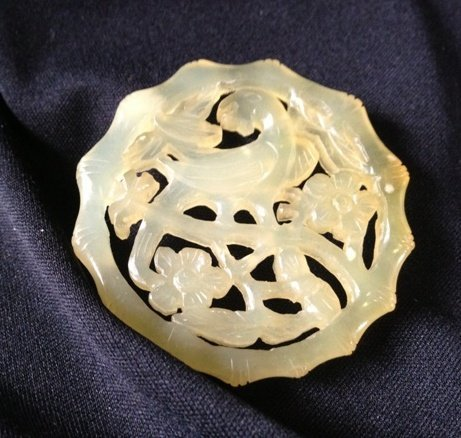 A Chinese Yellow HardStone Pendent