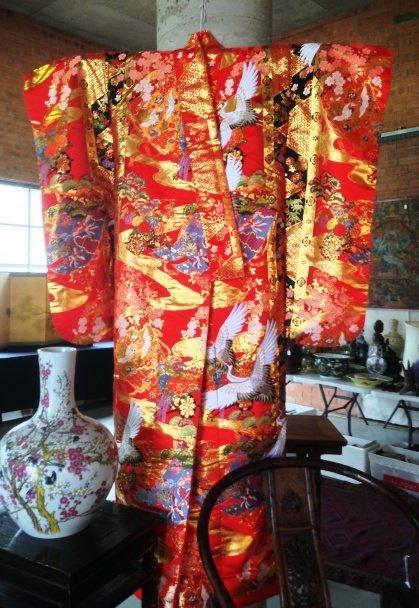 A Japanese Silk Wedding Kimono