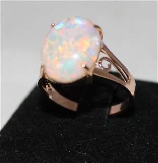 An Rose Gold Opal Mounted Ladies Dress Ring ,