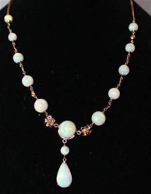 An Rose Gold Opal Mounted Necklet,