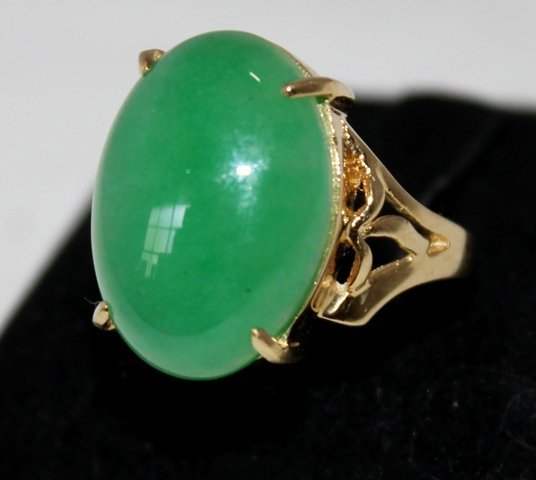 A Jade Mounted Gold Dress Ring ,