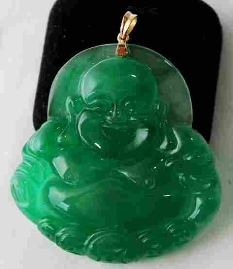 A Yellow Gold Mounted Jade Pendent ,