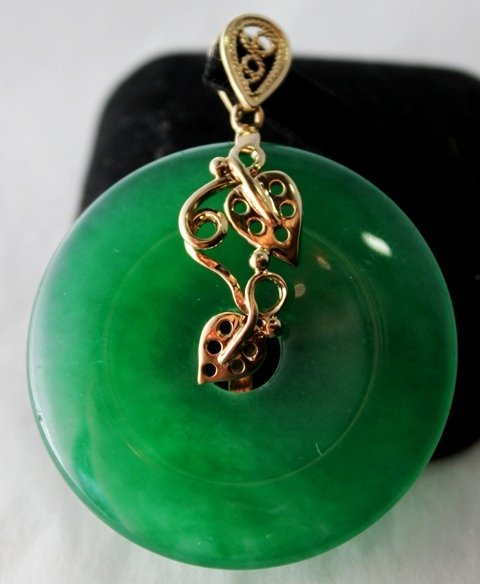 An Yellow Gold Mounted Jade Pendent,