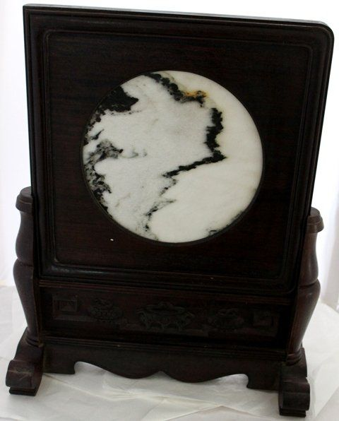 A Chinese Dreamstone and Hardwood Table Screen ,