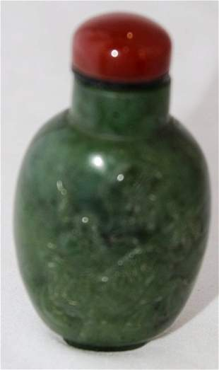 A Chinese Spinach Jade Snuff Bottle ,