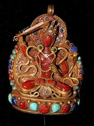 A Sino-Tibetan Geen Tara Pendent , Probably 19th Centur