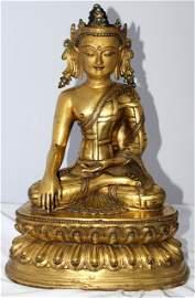A Large Chinese Bronze Green Tara