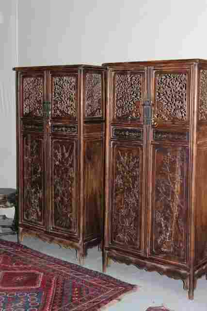 A Pair of Chinese Huang Huali Side Cabinets