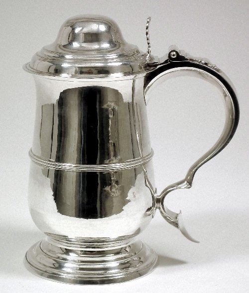 1: A good George III silver lidded baluster shape tanka
