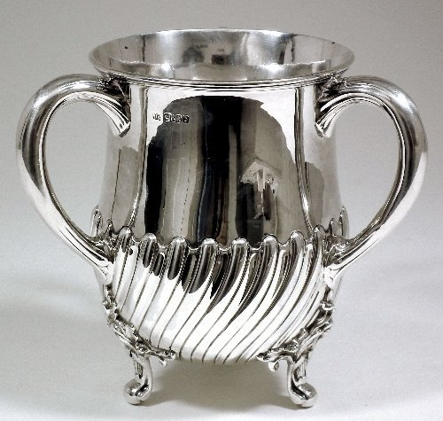 2: A Victorian silver three handled tyg or loving cup w