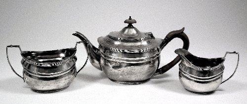 4: An Edward VIII silver three piece tea service of Geo