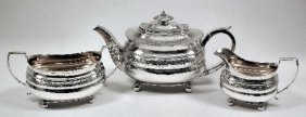 A George III Silver Three Piece Tea Service, The Squ