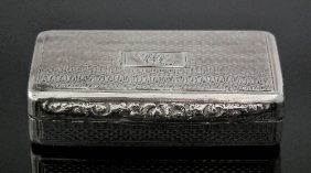 18: A Victorian silver rectangular snuff box with geome