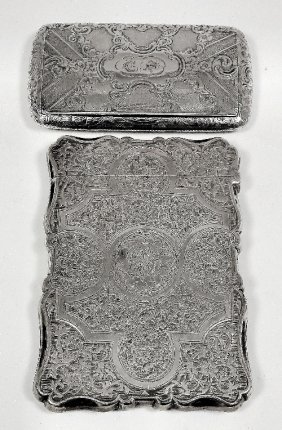 22: A Victorian silver rectangular card case of shaped