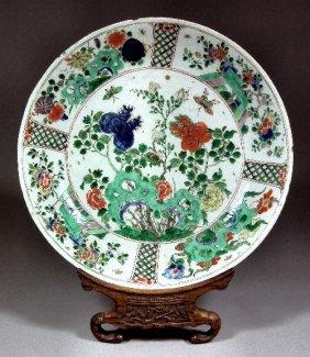 "652: A Chinese porcelain ""Famille Verte"" circular dish"
