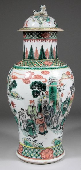 "655: A Chinese porcelain ""Famille Verte"" baluster shape"