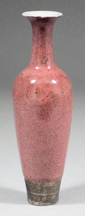 "659: A Chinese porcelain ""Peach Bloom"" glazed amphora v"
