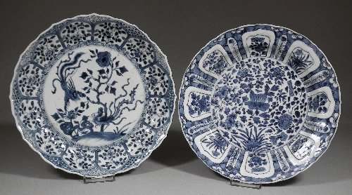662: A Chinese porcelain blue and white plate of shaped