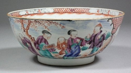 663: A Chinese porcelain bowl painted in colours with f