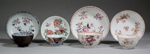 668: Ten Chinese porcelain tea bowls and saucers decora