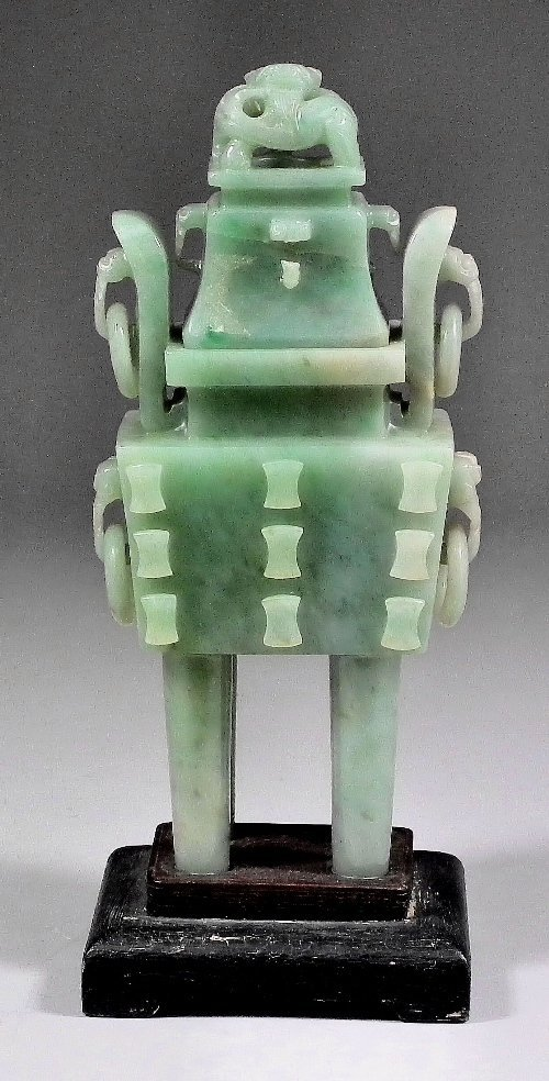 713: A Chinese green jadeite rectangular two-handled in