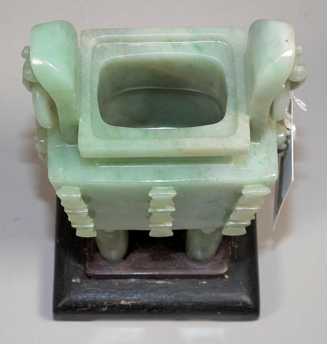 713: A Chinese green jadeite rectangular two-handled in - 2